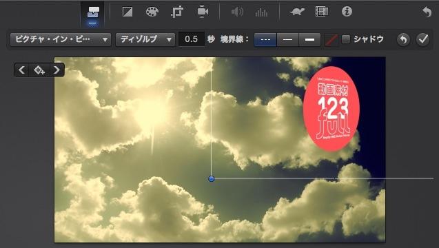iMovie(ver.10)を使う5【動画素材123FULL】アルファチャンネル付き(透過)movで合成・サイドバイサイド・アニメーション・KenBurns4