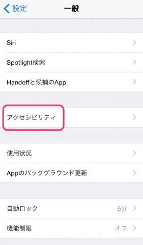 iOS 8 アクセスガイドの設定3