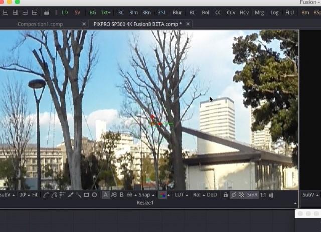 【Kodak PIXPRO SP360 4K】で撮ったVR映像を【Fusion8 BETA】で展開する【Blackmagic Design】30